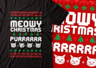meowy Christmas purrrr.. t-shirt design |Christmas tshirt | cat tshirt design