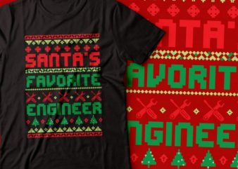mantas favourite engineer | ugly Christmas sweater | Santa vector shirt design