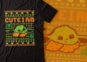 YODA cute i am tshirt design | star war tshirt |ugly sweater tshirt design