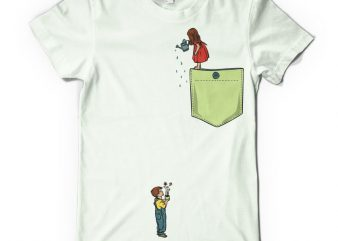 Watering flowers pocket buy t shirt design