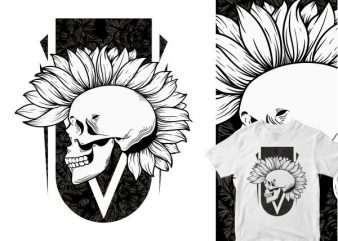 nature punk skull head cartoon commercial use t-shirt design