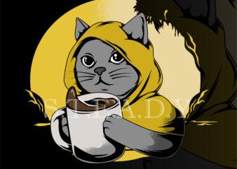 cofee cat t shirt design template
