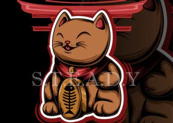 japanese cat shirt design png