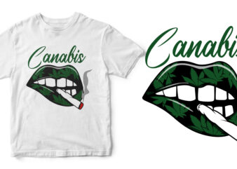 lips canabis t-shirt design for commercial use