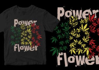 power flower t-shirt design for sale