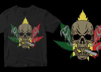 marijuana skull canabis commercial use t-shirt design