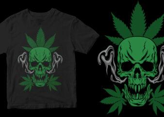 marijuana skull t shirt design for purchase
