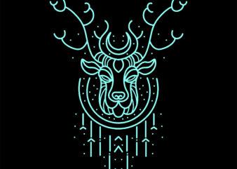 neon deer tshirt design ready to use