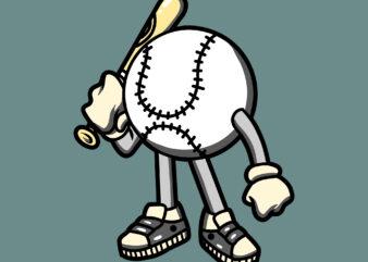baseball cartoon tshirt design ready to use