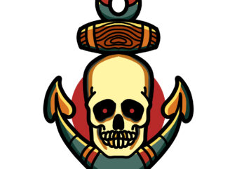 skull anchor tshirt design ready to use