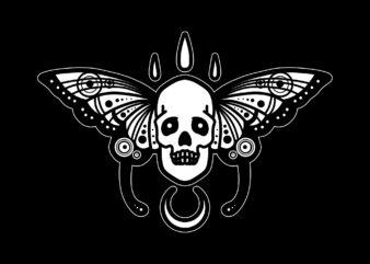 butterfly skull tattoo tshirt design