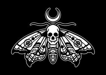 skull moth tshirt design ready to use
