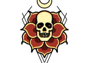 skull rose tshirt design ready to use