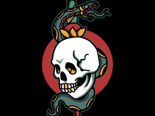skull and snake t shirt template vector