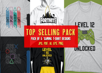 Pack of 5 Top selling gamer t shirts | Gaming love Artwork for commercial use and print ready