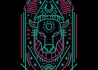 bison line art tshirt design