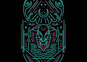 deer line art tshirt design
