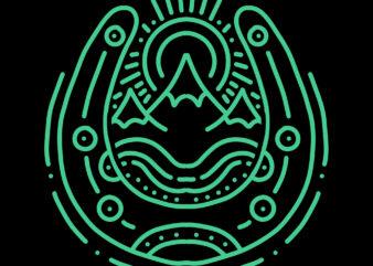 horseshoe and mountain tshirt design