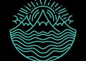 abstract mountain monoline tshirt design