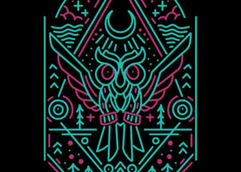 owl line art tshirt design