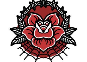 poison rose tattoo tshirt design