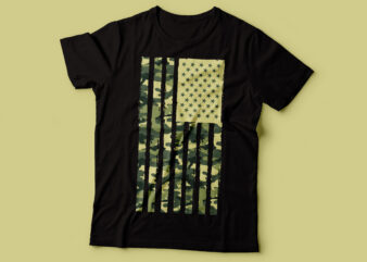 American USA flag and camo army design pattern tshirt design |patriot design