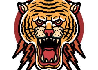angry tiger tshirt design