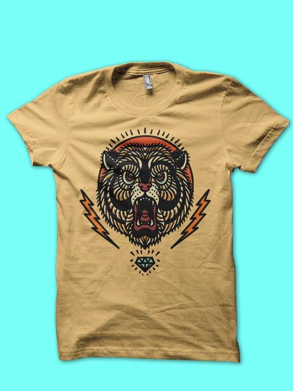 bear and thunder tshirt design