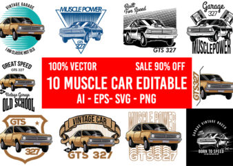 10 Muscle Car Editable 100% Vector AI EPS SVG PNG transparent Background