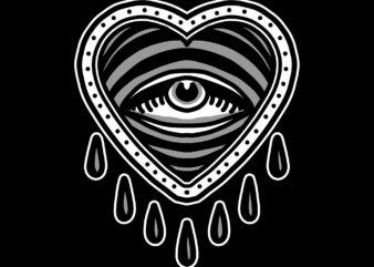 crying heart tshirt design