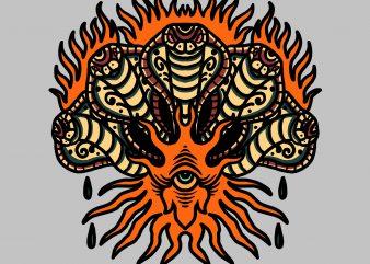 five headed cobra tshirt design