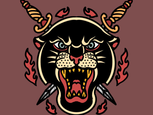panther and swords vector tshirt design