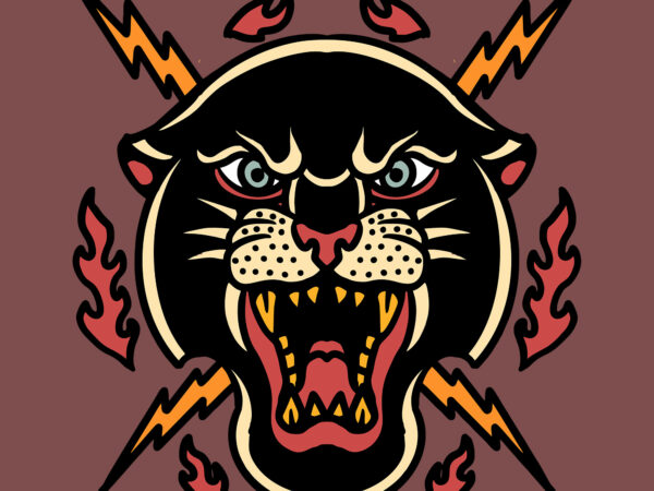 panther and thunder tshirt vector design