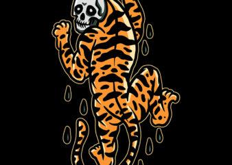 skull tiger tshirt design ready to use