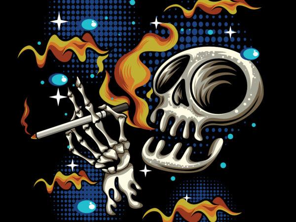 smoke skull cartoon art t shirt template vector
