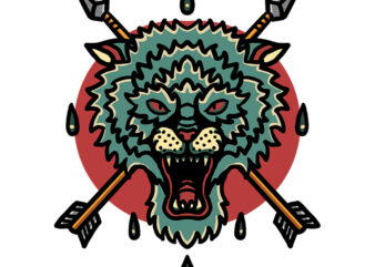 wolf and arrow tshirt design