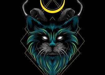 Devil evil cat horn vector illustration