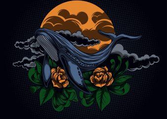 whale artwork illustration