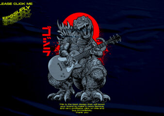 GODZILLA THE STREET MUSICIAN t shirt design template