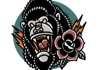 gorilla and roses