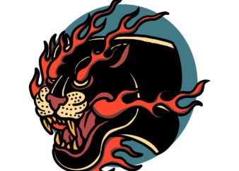 angry burning panther