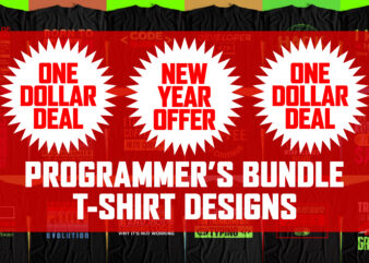 Big Bundle – T Shirt Designs for Programmers – 20 Best Designs for Print on Demand – New Year Discount Offer