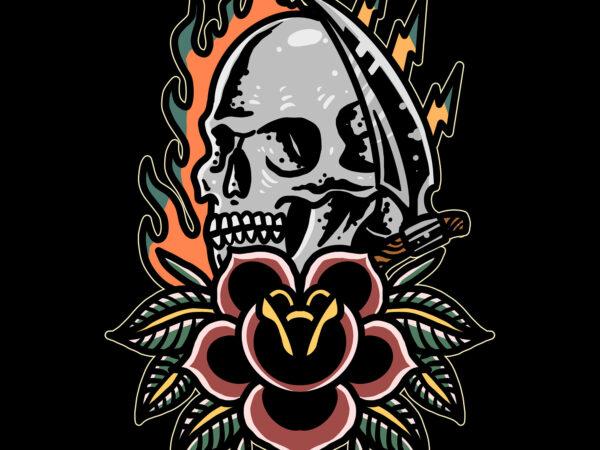 burning skull and rose t shirt template