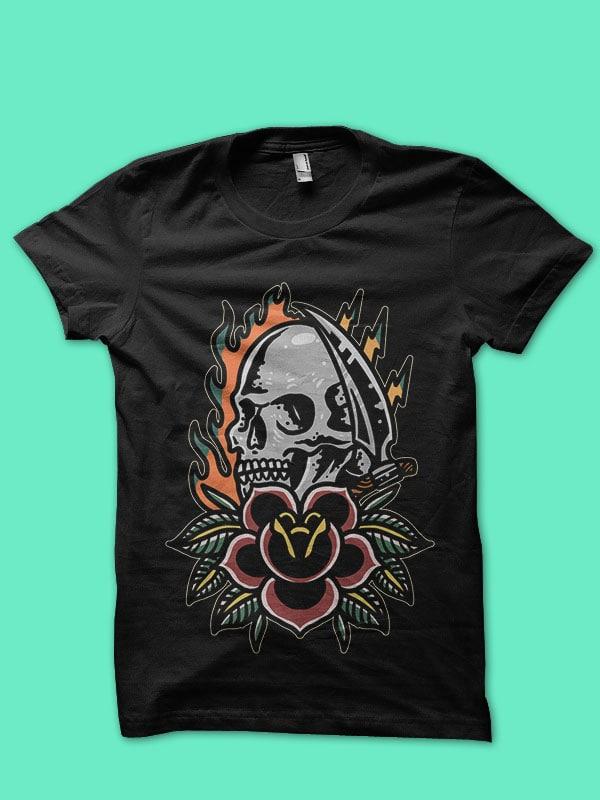 burning skull and rose