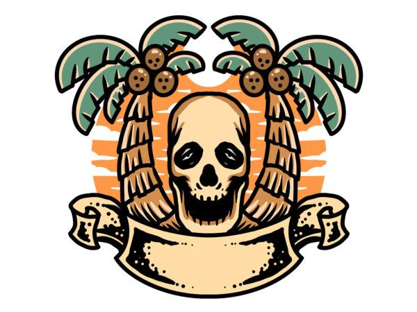 summer skull t shirt template vector