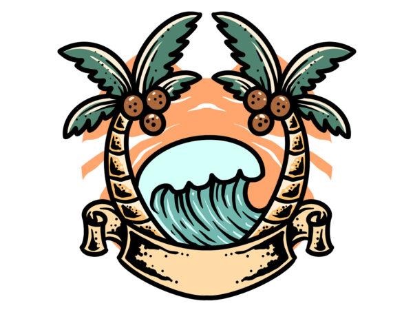 summer wave t shirt template vector