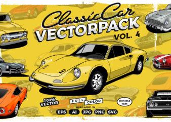Classic Car T-shirt design Collection vol. 4