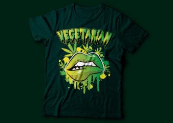 Marijuana drip lip T-Shirt Vegetarian design   Weed Funny Cannabis Pot Smoker Legalize Weed Tee Shirt