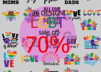 LGBT Bundle SVG, Sale Off 70%, Pride SVG, Peace SVG, Love Pride SVG, Sunflower SVG, Gay SVG, Lebrian SVG, Dinosaur LBGT SVG, Nurse SVG, Teacher SVG EPS DXF PNG Instant Download