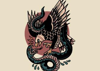 eagle vs snake tattoo t-shirt design